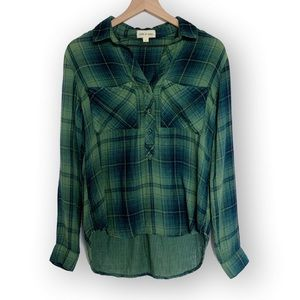 Anthropologie • Cloth & Stone Green Plaid Flannel